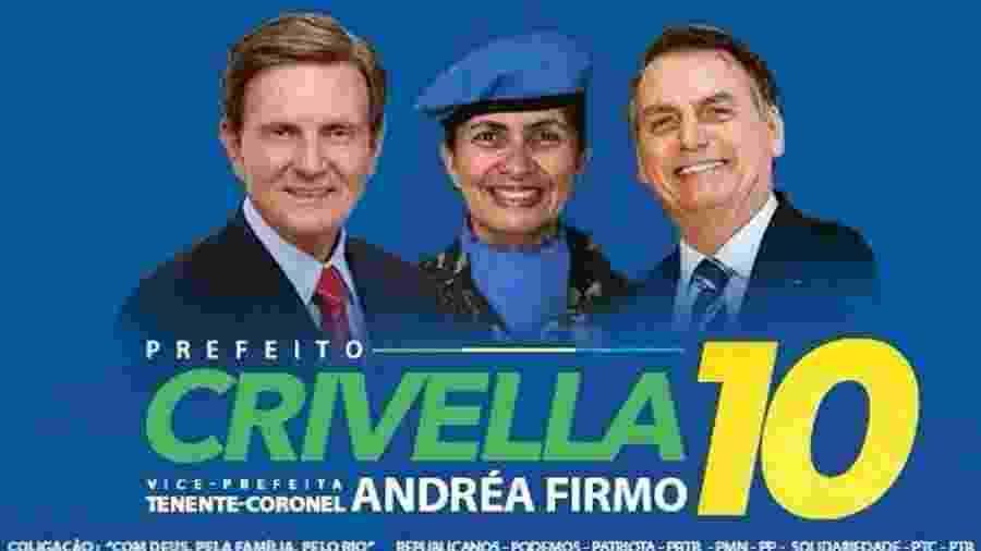 Imagem usada por Marcelo Crivella em campanha pela reeleição no Rio de Janeiro traz a imagem de Jair Bolsonaro - Reprodução/Twitter