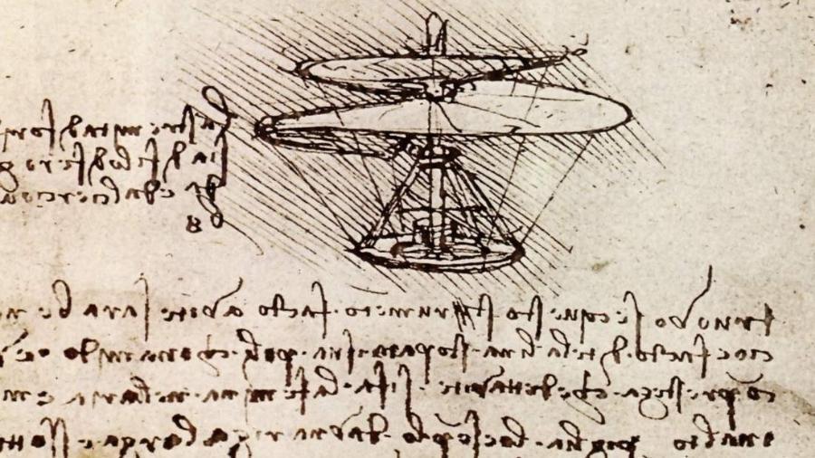 """""""Helicóptero"""" de Leonardo da Vinci, ou parafuso helicoidal aéreo - Reprodução"""