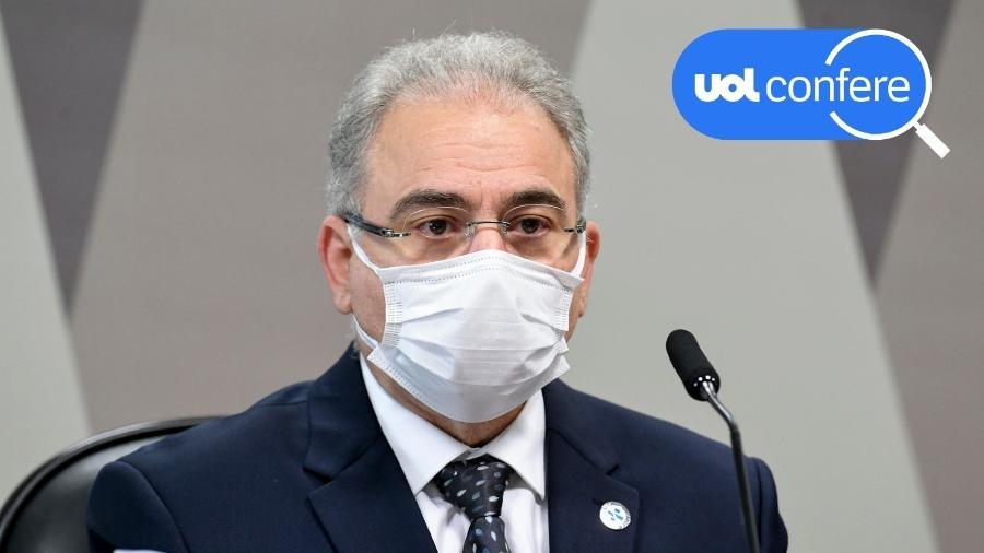 8.jun.2021 - O ministro da Saúde, Marcelo Queiroga, presta seu segundo depoimento à CPI da Covid no Senado - Jefferson Rudy/Agência Senado