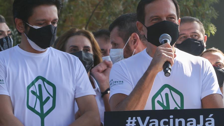 O prefeito Ricardo Nunes (à esquerda) e o governador João Doria (PSDB) em encontro no domingo - Governo do Estado de São Paulo