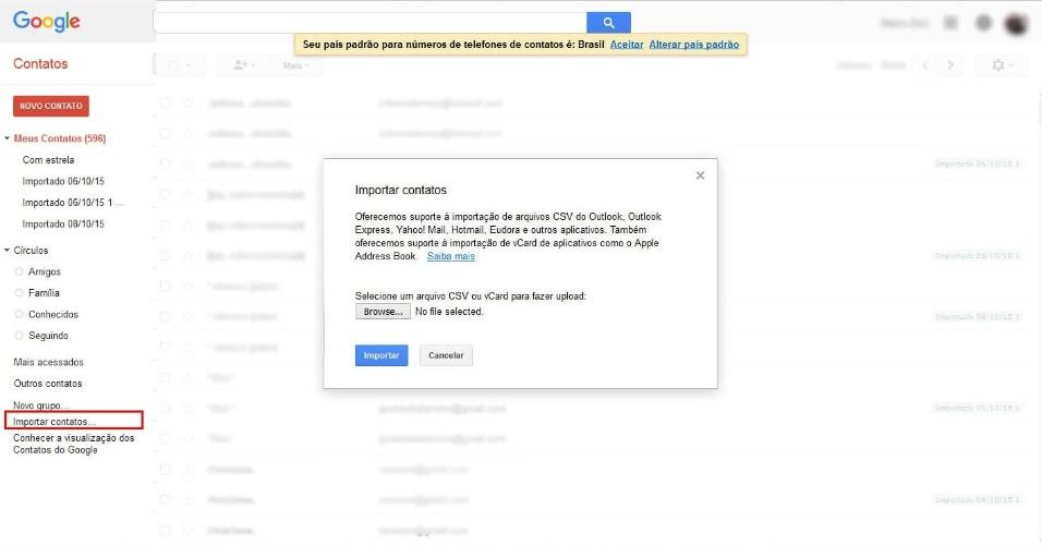 """De iPhone para Android - Passo 8: Já logado, você verá seus contatos do Google, e você vai acrescentar a esses os contatos do iCloud. Na parte esquerda da tela, clique em """"Importar contatos..."""". Vai aparecer uma tela que dirá: """"Selecione um arquivo CSV ou vCard para fazer upload"""". Clique em """"Browse..."""""""