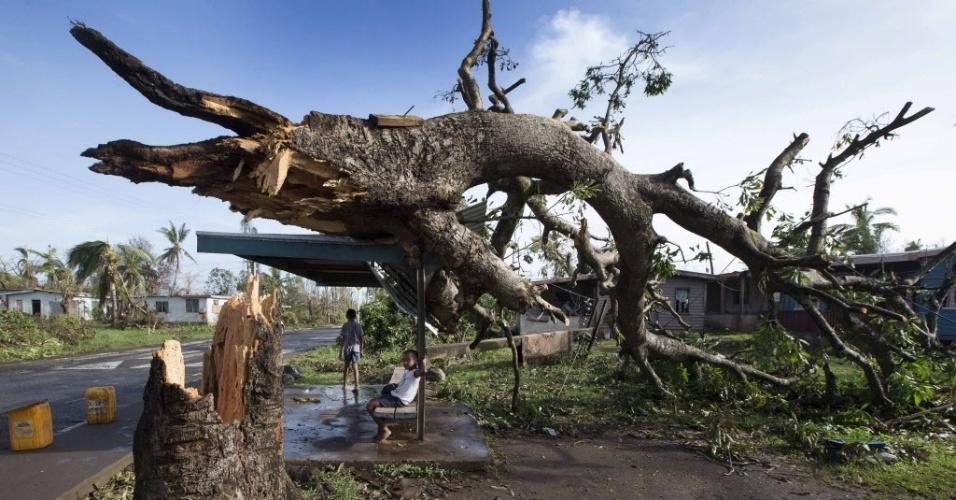 24.fev.2016 - Dois meninos ficam em ponto de ônibus onde árvore caiu na aldeia de Talecake, Fiji, após a passagem do ciclone Winston. O fenômeno ocorreu no fim de semana e contou com ventos de 285 km/h, tornando-se a tempestade mais forte da história de Fiji