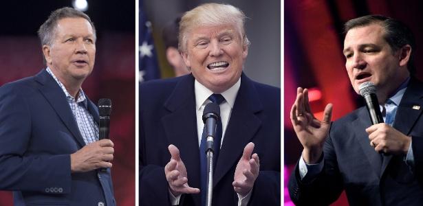 A partir da esquerda, os republicanos John Kasich, Donald Trump e Ted Cruz