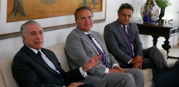 Renan Calheiros (c) quer um protagonismo maior do PSDB, de Aécio Neves (d), no governo Temer
