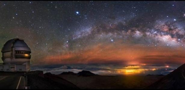 Arco ascendente da Via Láctea foi observado em Mauna Kea, no Havaí - Alvin Wu/BBC
