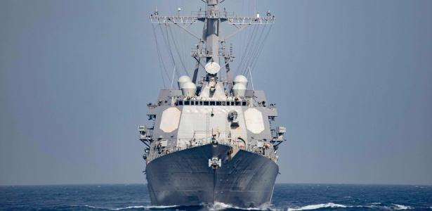 Nesta foto de junho de 2016, o destróier USS Nitze opera no mar Mediterrâneo