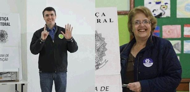 Bruno Siqueira (PMDB), à esq., e Margarida Salomão (PT), à dir., foram ao 2º turno
