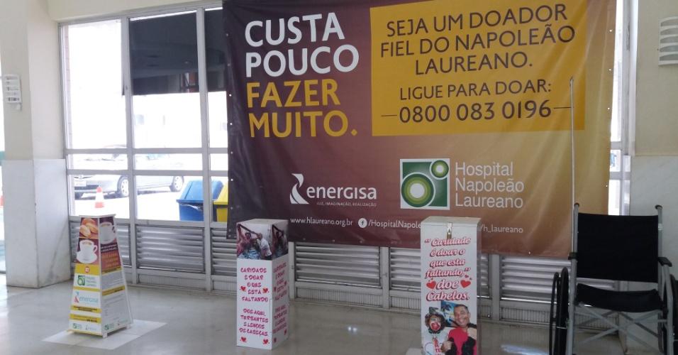 Caixas para doações estão espalhadas em todo o Hospital Hospital Napoleão Laureano