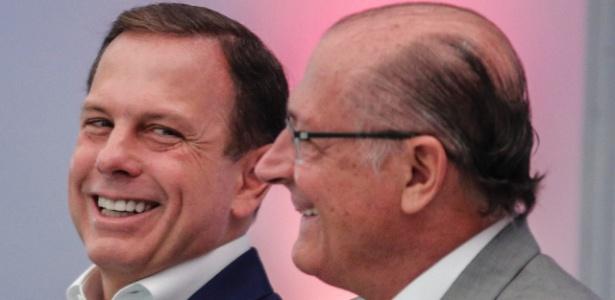 O governador de São Paulo, Geraldo Alckmin (PSDB), e o prefeito da capital, João Doria (PSDB), participam da abertura da Couromoda 2018