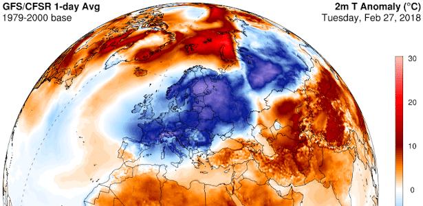 Mapa mostra partes da Europa com temperaturas abaixo da média; já regiões árticas apresentam temperaturas acima da média - Climate Reanalyzer / University of Maine