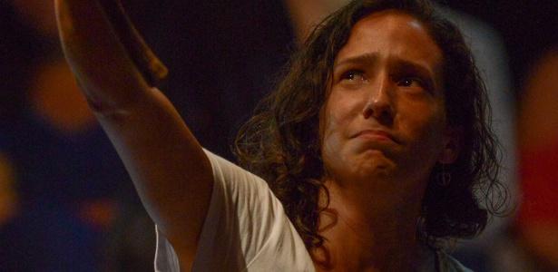 """2.abr.2018 - Monica, viúva da vereadora Marielle Franco (PSOL-RJ), participa do """"Ato pela democracia e contra o fascismo no Rio"""""""