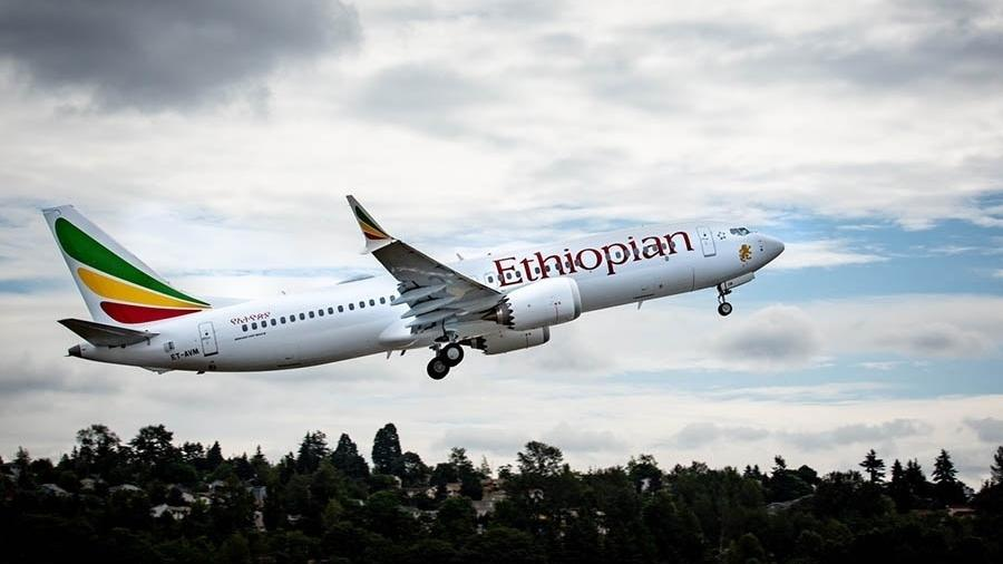 Imagem de arquivo de um avião Boeing 737 MAX 8 da companhia Ethiopian Airline - Divulgação/Boeing