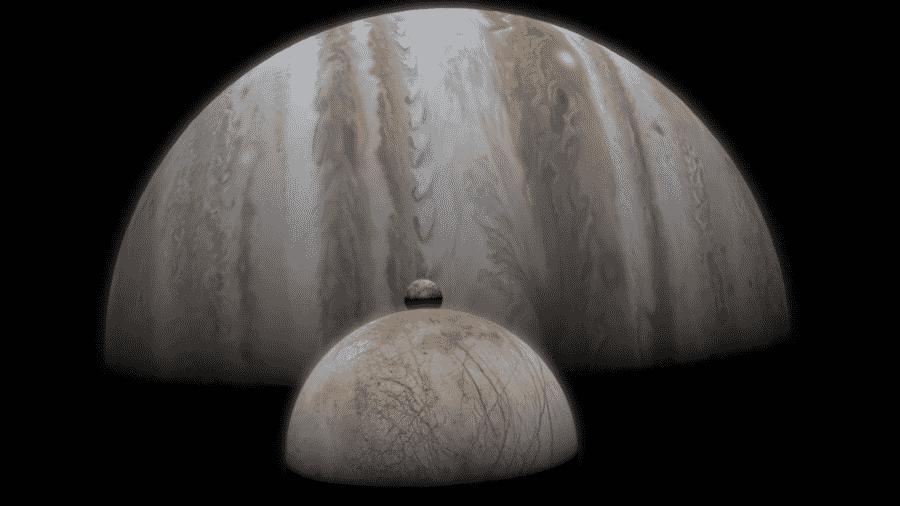 """Pesquisadores da Nasa descobriram vapor d""""água na Europa, uma das 79 luas de Júpiter. - Divulgação/Nasa"""