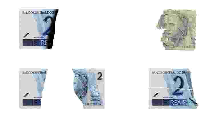 Exemplos de notas mutiladas - Montagem/Reprodução/Banco Central - Montagem/Reprodução/Banco Central