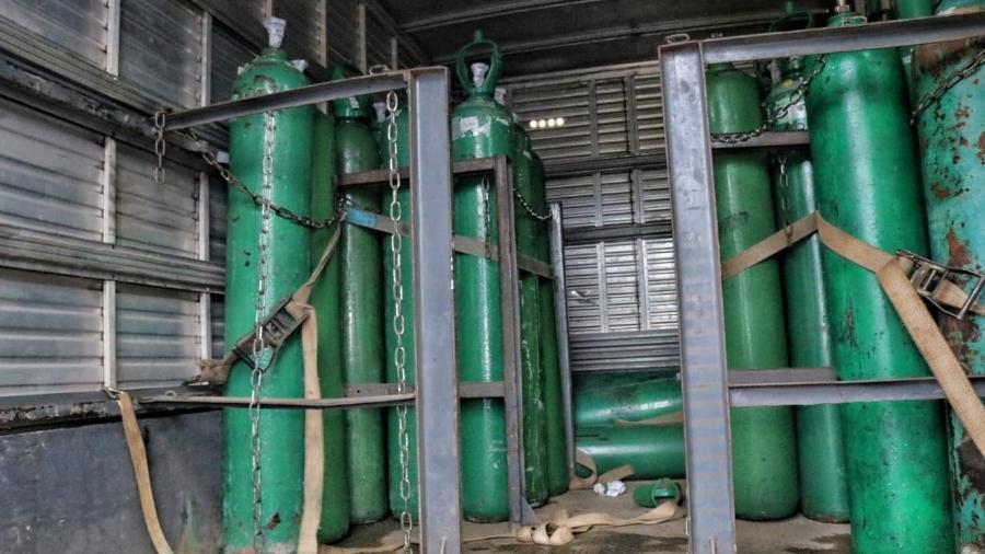 Cilindros de oxigênio foram apreendidos em Manaus - Divulgação/SSPAM