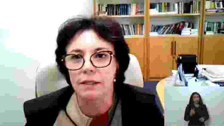 09.fev.2021 - Subprocuradora-Geral da República Cláudia Sampaio Marques, durante julgamento no STF sobre mensagens da Lava Jato - Reprodução - Reprodução