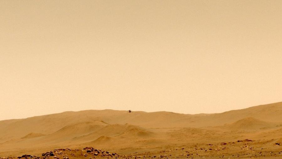 Imagem do Ingenuity durante seu quinto voo, em Marte - NASA/JPL-Caltech