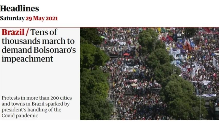Site do jornal britânico The Guardian destaca protestos contra Bolsonaro neste sábado - Reprodução/The Guardian