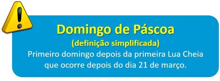 Definição simplificada da data da Páscoa - Dulcidio Braz Jr / Física na veia - Dulcidio Braz Jr / Física na veia