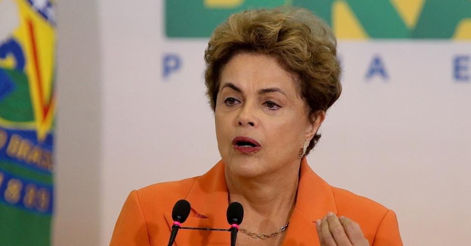4.mai.2016 - A presidente Dilma Rousseff discursa durante lançamento Plano Safra 2016-2017, no Palácio do Planalto, em Brasília