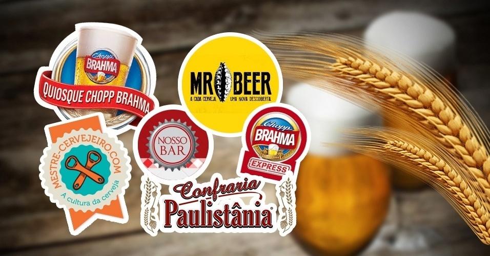 Arte com logos de marcas de cerveja que são franquias