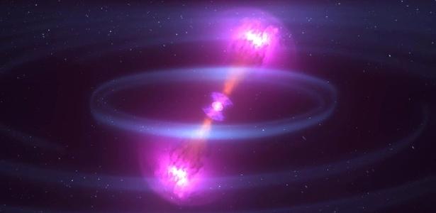 Ilustração mostra colisão de estrelas de nêutrons a 130 milhões de anos-luz da Terra