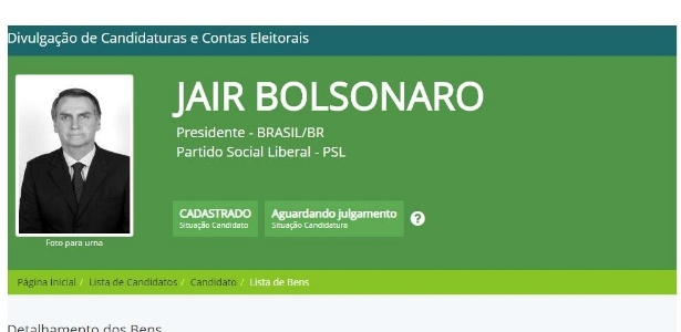 Declaração de registro de candidatura de Bolsonaro (PSL) no site do TSE