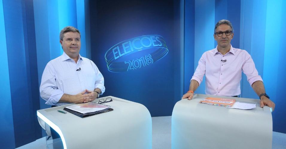 25.out.2018 - Debate entre os candidatos ao governo de Minas Gerais, Antonio Anastasia (e) (PSDB) e Romeu Zema (d) (Novo), na sede da Rede Globo, em Belo Horizonte (MG), nesta quinta-feira (25)