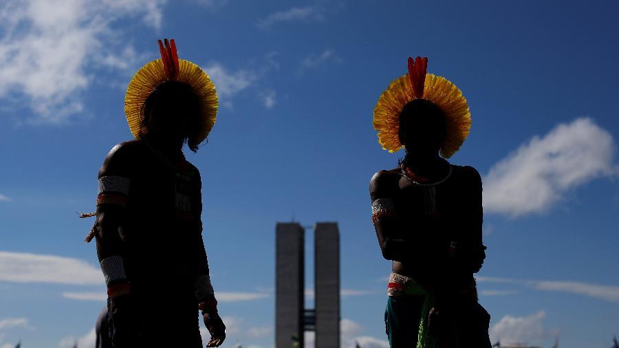 24.abr.2019 - Povos indígenas se reúnem em Brasília em defesa de seus direitos - Adriano Machado/Reuters