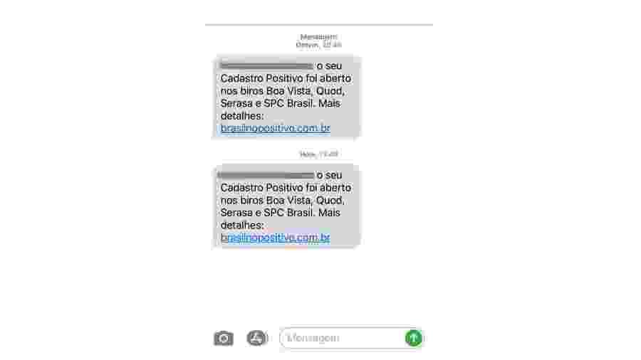 SMS avisa sobre cadastro positivo - Reprodução