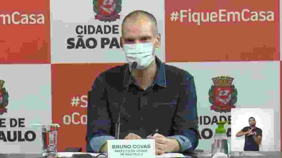 O prefeito de São Paulo, Bruno Covas (PSDB), durante coletiva de imprensa online no dia 17 de maio - Reprodução