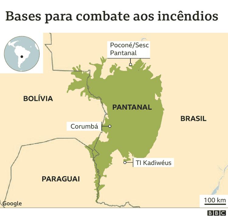 Mapa mostra localização do Pantanal e das bases de combate aos incêndios - Cecilia Tombesi/BBC - Cecilia Tombesi/BBC
