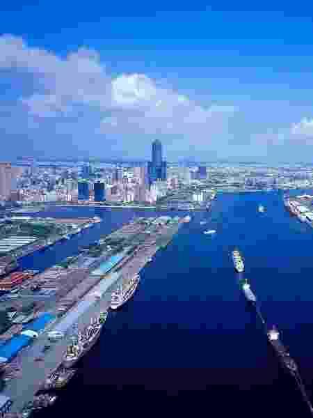 Vista aérea do porto da cidade de Kaohsiung, ao sul de Taiwan - Escritório Econômico e Cultural de Taipei no Brasil/Divulgação - Escritório Econômico e Cultural de Taipei no Brasil/Divulgação