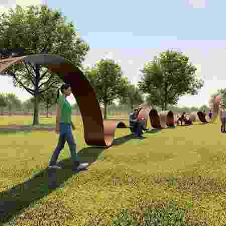 Simulação do Memorial In-finito, monumento em homenagem aos mortos pela covid-19 - Reprodução/Instagram crisasantos.arquitetos