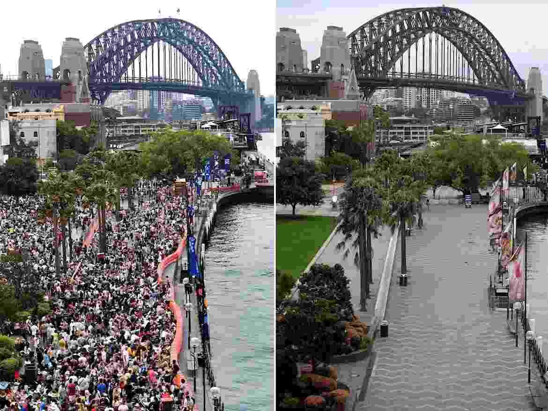 Montagem mostra a diferença de público entre as celebrações para as chegadas de 2020 e de 2021 no Circular Quay, em Sydney, na Austália - EFE/EPA/DAN HIMBRECHTS / DEAN LEWINS