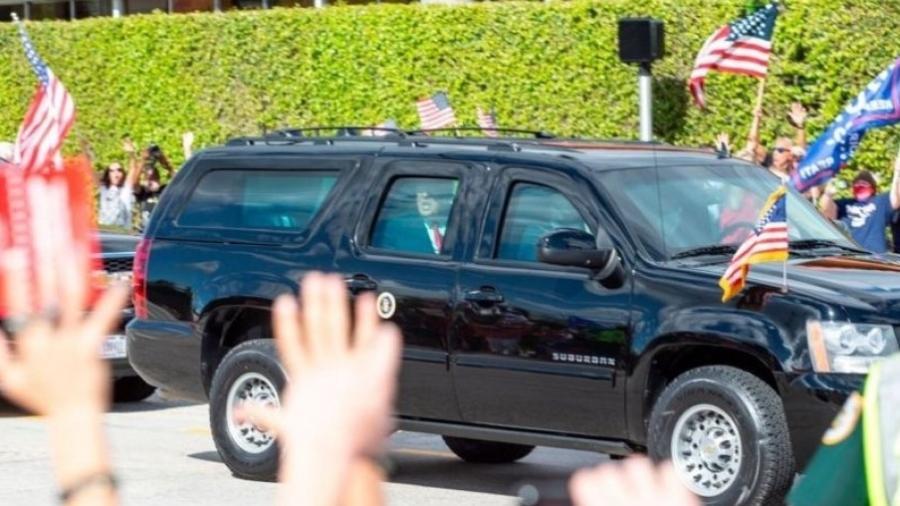 Depois de deixar a presidência em 20 de janeiro, Donald Trump foi recebido por seus seguidores em Palm Beach - GETTY IMAGES