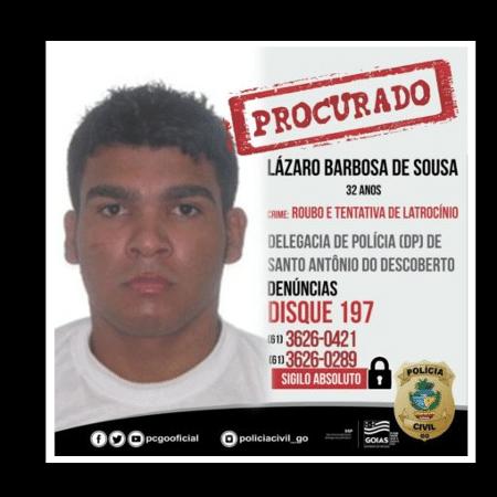 Imagem de Lázaro Sousa, suspeito de matar quatro pessoas em Brasília e condenado por homicídio e estupro - Divulgação/PCGO