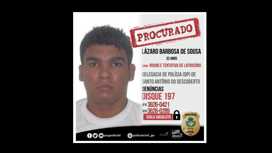 14.jun.2021 - Polícia de Goiás divulgou novas imagens de Lázaro Sousa, suspeito de matar quatro pessoas em Brasília e condenado por homicídio e estupro - Divulgação/PCGO