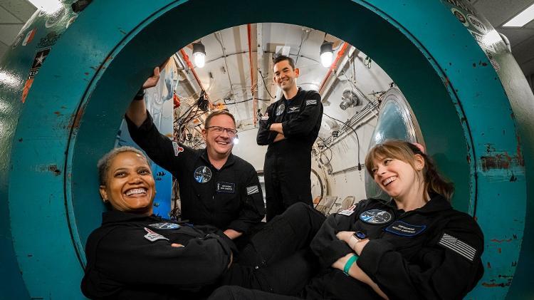 Sian Proctor, Chris Sembroski, Jared Isaacman and Hayley Arceneaux (left to right) in simulation inside Crew Dragon - Inspiration4/John Kraus - Inspiration4/John Kraus