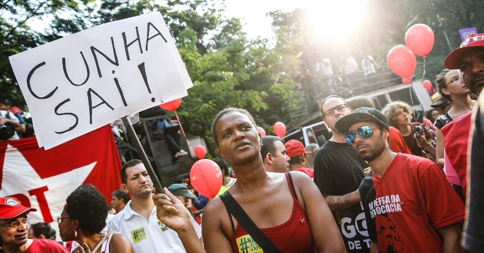 18.mar.2016 - Deputado federal Eduardo Cunha (PMDB-RJ) é um dos principais alvos de manifestações.