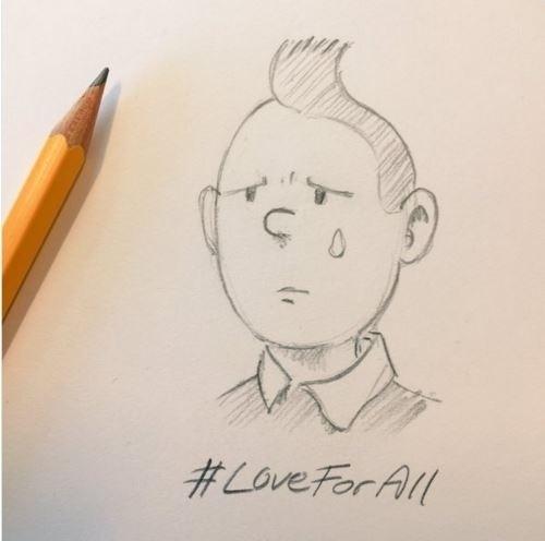 22.mar.2016 - Diversos cartuns começaram a surgir nas redes sociais em solidariedade às vítimas dos atentados terroristas que atingiram Bruxelas na manhã desta terça-feira. Um dos personagens mais lembrados foi Tintim, do famoso cartunista belga Hergé  (1907 - 1983)