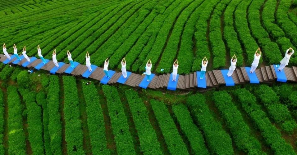 25.abr.2016 - Praticantes de ioga fazem aula em um parque que celebra a cultura do chá em Enshi, em Hubei, na China