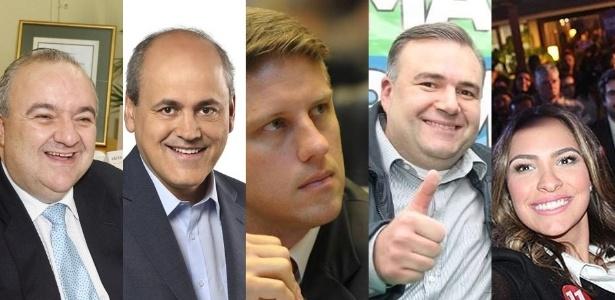 Da esq. para a dir.: os candidatos Greca (PMN), Fruet (PDT), Requião Filho (PMDB), Leprevost (PSD) e Maria Victoria (PP)