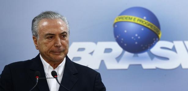 O presidente Michel Temer (PMDB) durante pronunciamento no Planalto