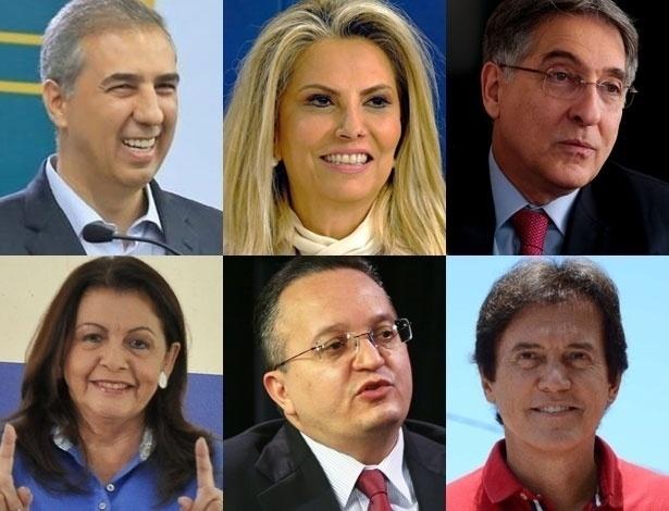 Da esquerda para a direita, de cima para baixo: os governadores Zé Eliton, Cida Borghetti, Fernando Pimentel, Suely Campos, Pedro Taques e Robinson Faria: nenhum se reelegeu