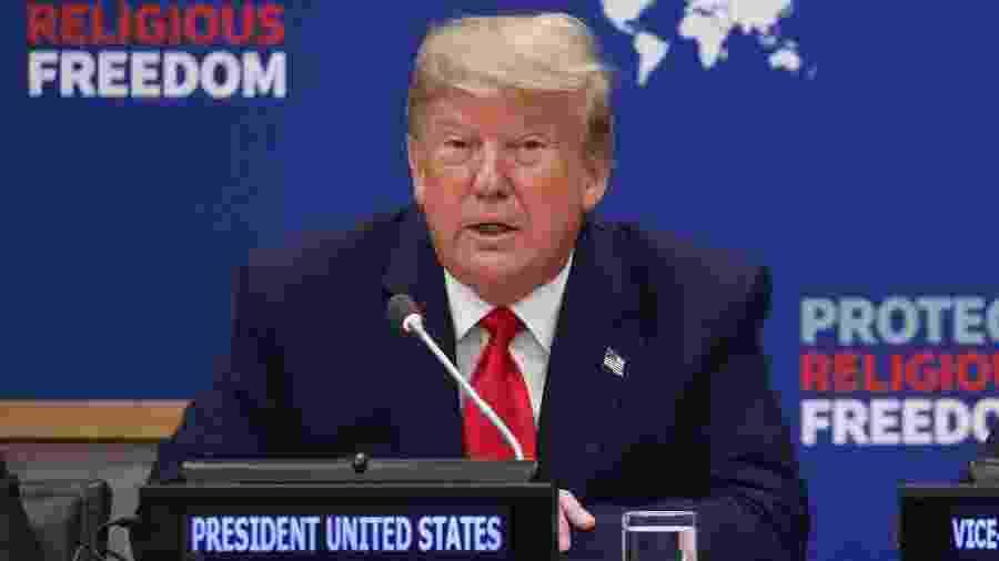 O presidente dos Estados Unidos, Donald Trump, durante evento sobre liberdade religiosa na ONU, em Nova York - Jonathan Ernst/Reuters
