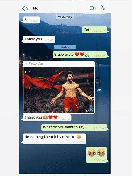 Conversa entre Dejan Lovren e Mohamed Salah, ambos do Liverpool,em que o croata tirou onda com o atacante - Reprodução/Instagram