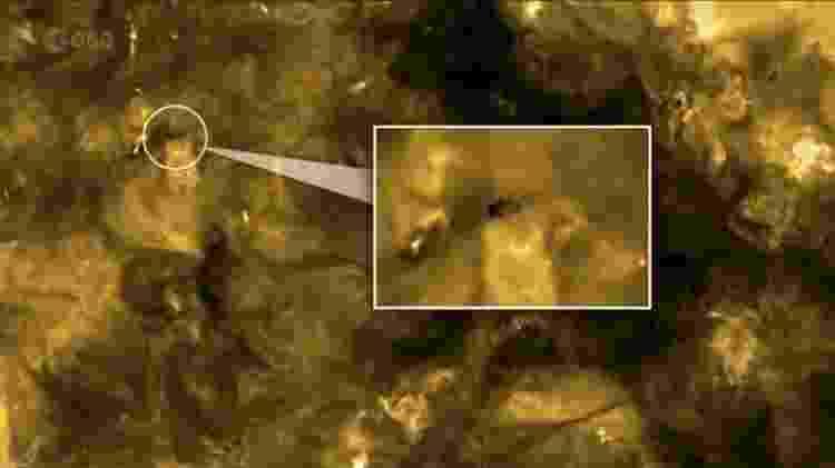 Mancha negra no formato do corpo de um tardígrado apareceu nas imagens recentes do Sol, capturadas pela missão Solar Orbiter - Divulgação Solar Orbiter / ESA & NASA - Divulgação Solar Orbiter / ESA & NASA