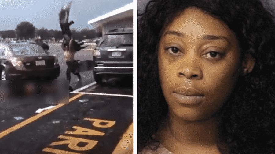 Bashira S. Tripp foi filmada agredindo um homem caído em um estacionamento nos EUA depois de atropelá-lo. Ela foi indiciada por agressão. As imagens foram compartilhadas nas redes sociais - Reprodução/Instagram/