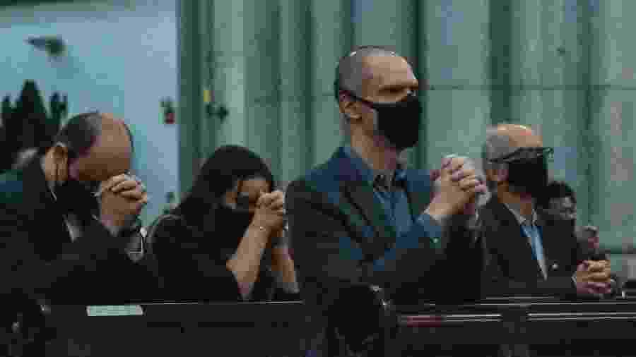 15.out.2020 - Bruno Covas (PSDB) participa de Missa de Ação de Graças pelo Dia dos Professores na Catedral da Sé, no centro de São Paulo - ROBERTO CASIMIRO/FOTOARENA/ESTADÃO CONTEÚDO